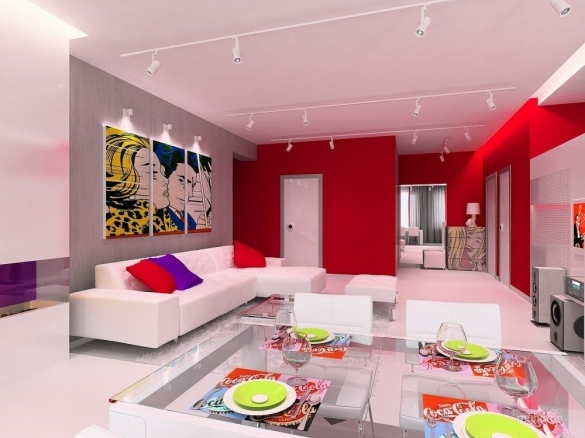 Дизайн квартиры-студии в стиле поп-арт