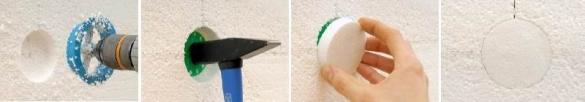 Как закрепить пенопласт на стене с помощью дюбеля-зонтика скрытым методом