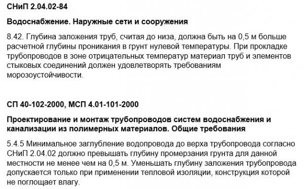 Глубина заложения водопровода СНиП 2.04.02-84 и СП 40-102-2000, МСП 4.01-101-2000