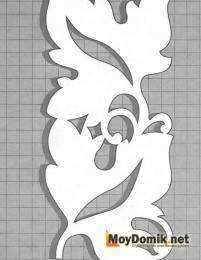 Эскиз наличников на окна - орнамент из плетущихся листочков-2