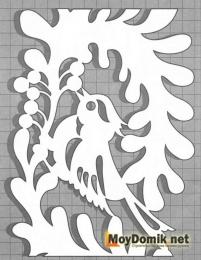 Эскиз наличников на окна - узор с птицей (правая)