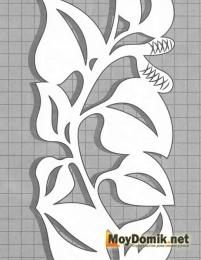 Эскиз наличников на окна - орнамент из плетущихся листочков (левая)