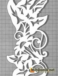 Эскиз наличников на окна - орнамент с цветами