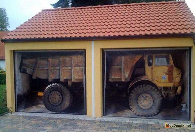 3Д фотообои на воротах гаража