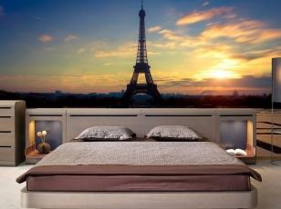 Фотообои 3Д Эйфелева башня в спальне