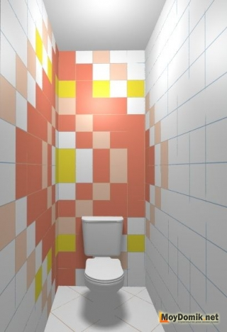 Интерьер туалета с контрастным оформлением