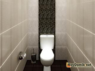 Интерьер туалета с акцентом на одной стене