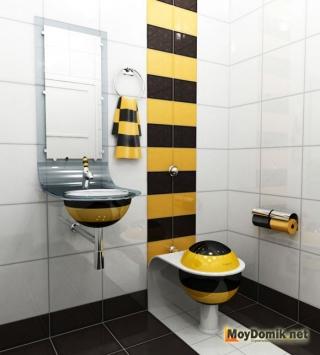 Интерьер туалета с яркими акцентами