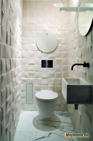 Дизайн интерьера туалета с декоративными 3D панелями