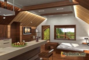Мансардный этаж - оформление интерьера (вид со стороны гостиной и входа)