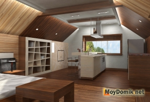 Мансардный этаж - оформление интерьера (вид со стороны кухонной зоны)