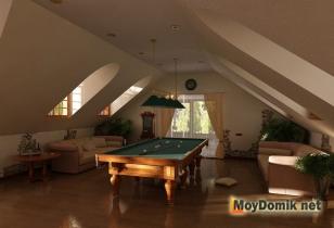 бильярдная комната на мансардном этаже частного дома