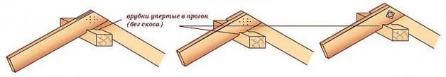 Установка конька крыши методом врубки
