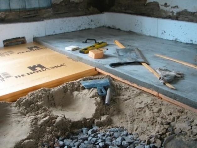 Утепление пола в погребе песком