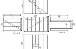 Схема домика из деревянных щитов