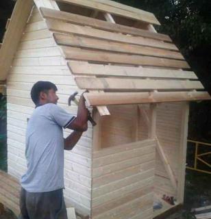 Устройство крыши детского домика - обрешётка