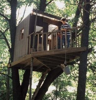 Домик на дереве со смотровой площадкой