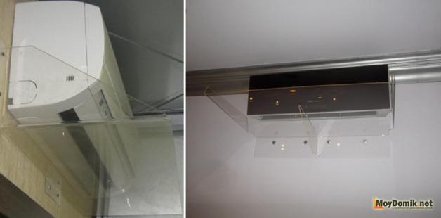 Экран для кондиционера из листового органического стекла (слева) и акриловый (справа)