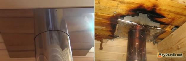 Защитный экран для трубы печи в бане и последствия его отсутствия