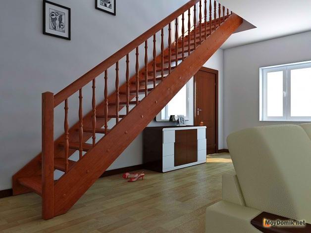 Прямая маршевая деревянная лестница