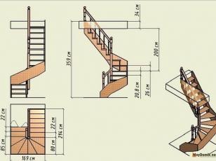 Чертеж деревянной лестницы на 2-й этаж дома