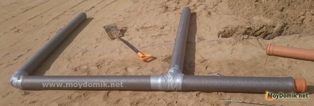 Теплоизоляция канализационных труб - оболочка из вспененного полиэтилена