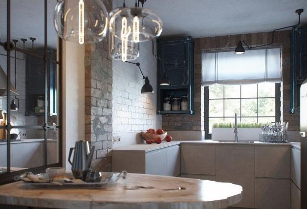Дизайн кухни в стиле Лофт с окном посередине