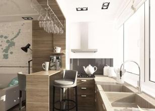 Дизайн кухни с балконным окном