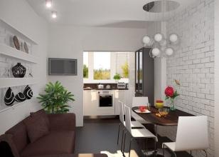 Кухня с окном, вынесенном на балкон