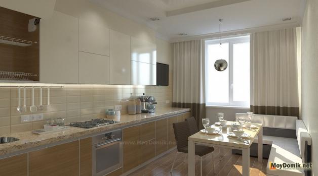 Красивый дизайн интерьера кухни с окном в новостройке