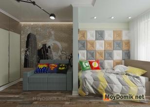 Дизайн детской комнаты в современном стиле - зона отдыха и гардероб