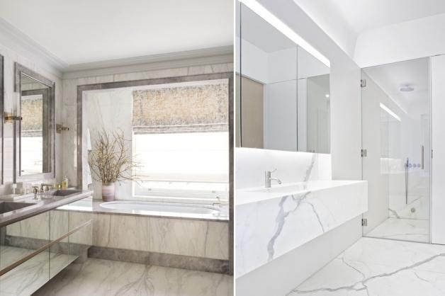 Современная ванная комната облицованная мрамором