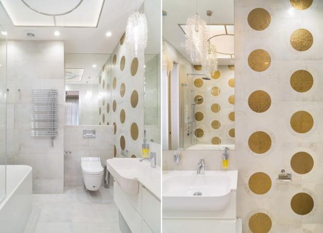 Современная ванная комната облицованная керамогранитом