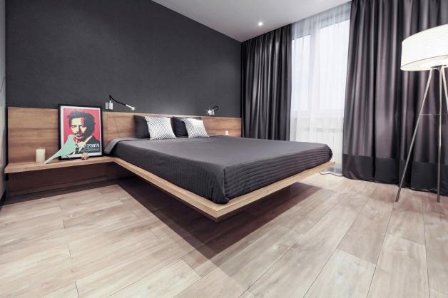 Кровать в интерьере современной спальни