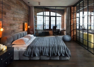 Дизайн интерьера современной спальнис большим окном
