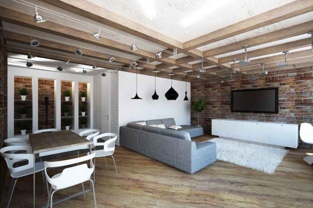 Межэтажные балки перекрытия в интерьере гостинной
