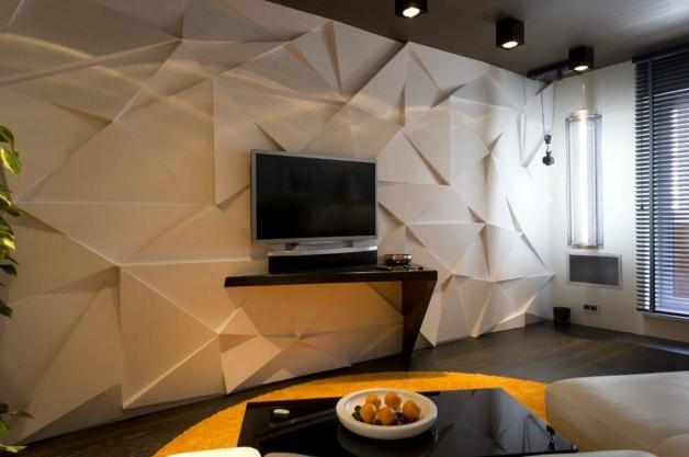 3Д панели в интерьере современной гостинной