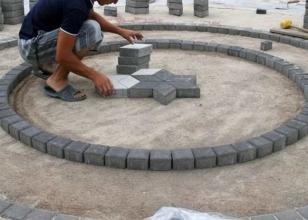 Установка плитки круговым способом
