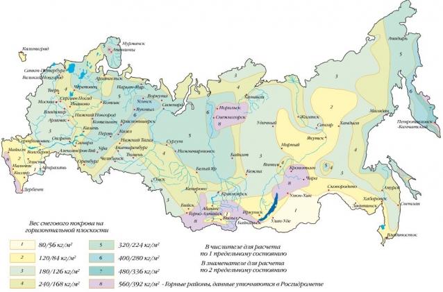 Снеговая нагрузка в регионах России - карта