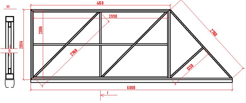Схема каркаса для ворот