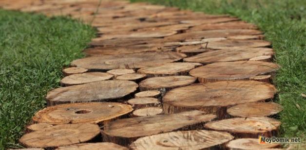 Садовые дорожки из спила дерева