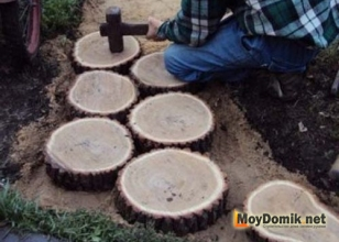 Дорожка из деревянных спилов своими руками