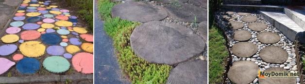 Оформление дорожки из спилов дерева