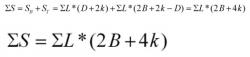Формула для расчета площади вальмовой кровли