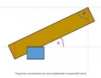 Чертеж для расчета угла наклона рядовых (промежуточных) стропил