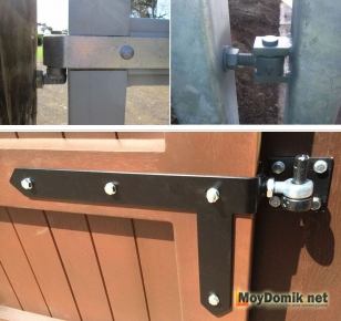 Варианты устройства петель для распашных ворот