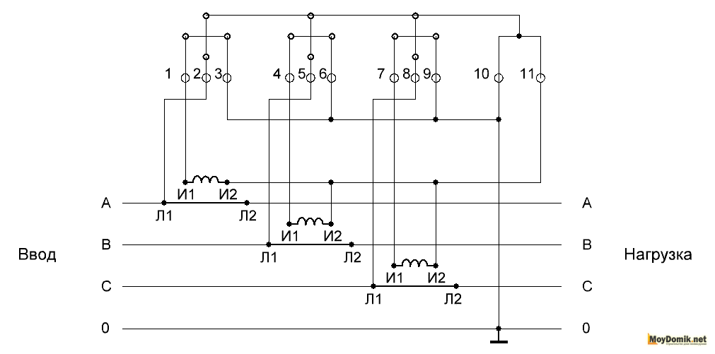 Схема подключения 3-х фазного счетчика через трансформаторы тока схема