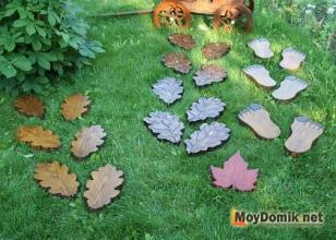 Креативные фигурные деревянные дорожки - дубовый, кленовый лист, лапы