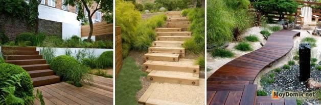 Дорожки и ступеньки из дерева в ландшафтном дизайне