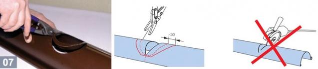 Вырезание отверстия под водосточную воронку и правила раскроя желоба
